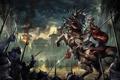 Картинка light, fire, war, clouds, rider, battle, horse