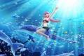 Картинка цветок, девушка, рыбы, пузыри, океан, аниме, арт