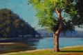 Картинка лето, пейзаж, река, дерево, дома, арт, постройки