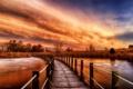 Картинка осень, небо, трава, мост, река, камыши, зарево