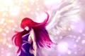 Картинка девушка, крылья, ангел, аниме, платье, профиль, красные волосы