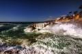 Картинка море, брызги, камни, побережье
