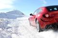 Картинка зима, дорога, car, машина, небо, снег, road