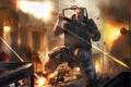 Картинка город, оружие, огонь, кровь, ярость, мужчина, выстрелы