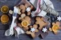 Картинка зима, еда, апельсины, печенье, звездочки, фигурки, выпечка