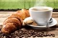 Картинка кофе, печенье, кофейные зерна, coffee, круассаны, biscuits, coffee beans