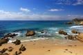 Картинка песок, море, пляж, камни