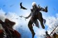 Картинка прыжок, орел, взрывы, солдаты, ассасин, assassins creed 3, коннор кенуэй