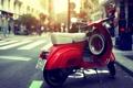 Картинка солнце, красный, мотоцикл, red, sun