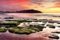 Картинка море, закат, камни, холм