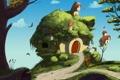 Картинка деревья, птицы, дом, арт, дорожка, домик, скворечники