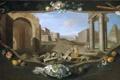 Картинка колонна, Charles Joseph Flipart, фрукты, башня, город, коллаж, люди