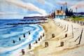 Картинка море, пляж, акварель