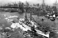 Картинка фотография, Нью-Йорк, чёрно-белая, Бруклинский мост, американский, сопровождение, буксиры