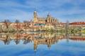 Картинка пейзаж, река, дома, собор, Испания, Саламанка, Тормес