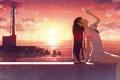 Картинка небо, девушка, солнце, облака, пейзаж, закат, маяк