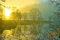Картинка солнце, закат, горы, озеро, дом, дымка, шотландия