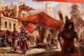 Картинка девушка, город, люди, слон, арт, рынок, стражи
