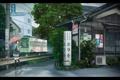 Картинка город, зонтик, дождь, улица, поезд, аниме, девочка