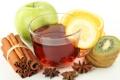 Картинка лимон, чай, яблоко, апельсин, киви, корица, анис