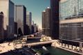 Картинка небо, здания, небоскребы, USA, америка, чикаго, Chicago
