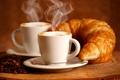Картинка кофе, аромат, пенка, круассаны