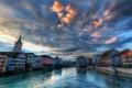 Картинка облака, река, небо, башня, канал, zurich, дома