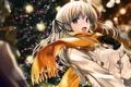 Картинка девушка, снег, рождество, аниме, шарф