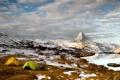 Картинка пейзаж, горы, палатки