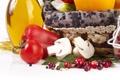 Картинка ягоды, корзина, грибы, масло, огурец, перец, овощи