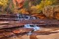 Картинка деревья, горы, ручей, скалы, водопад, Юта, США