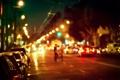 Картинка свет, деревья, город, люди, улица, автомобили, лампа должность