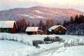 Картинка зима, лес, пейзаж, холмы, картина, деревня, домики