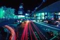 Картинка город, фары, здания, дорога, автомобили, огни
