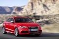 Картинка Audi, Красный, Капот, Автомобиль, Sedan, Передок, В Движении