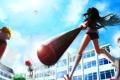 Картинка miki sayaka, девушки, небо, двор, девочка-волшебница мадока, бита, облака