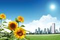 Картинка облака, подсолнухи, трава, здания, солнце, город, дома