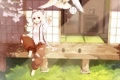Картинка девушка, радость, напиток, жест, touhou, art, fujiwara no mokou