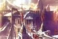 Картинка горы, фантастика, сооружение, арт, флаги, крепость, цитадель