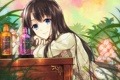 Картинка трава, девушка, цветы, арт, сидя, флаконы, jugatsu junichi