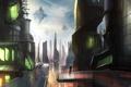 Картинка город, будущее, люди, транспорт, человек, арт, мегаполис