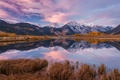 Картинка облака, небо, озеро, зеркало, кусты, деревья, горы