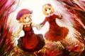 Картинка осень, листья, девушки, арт, виноград, чепчик, touhou