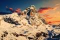 Картинка горы, снег, месяц, рассвет