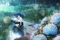 Картинка трава, девушка, ручей, дождь, улитка, зонт, арт