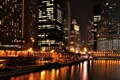 Картинка ночь, огни, небоскребы, фонари, чикаго, Chicago, мичиган