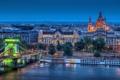 Картинка город, река, вид, собор, храм, Венгрия, Будапешт