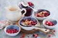 Картинка варенье, джем, завтрак, еда, ягоды, хлопья, мюсли
