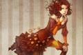 Картинка девушка, апельсин, платье, декольте, цветок в волосах, tagme (artist)