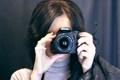 Картинка девушка, фотоаппарат, объектив